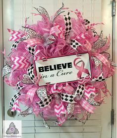 Believe In A Cure Breast Cancer Ruffle Deco by AQuaintHaberdashery,