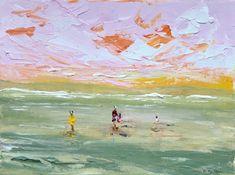 Original Seascape Painting by Rine Philbin Original Art, Original Paintings, Bird Artists, Romantic Paintings, Irish Landscape, Pretty Sky, Farm Art, Irish Art, Pink Sky