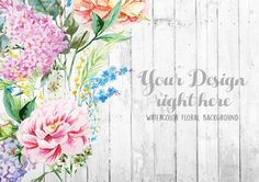 Retro Floral Background, Rustic White Wood Mockup, Hand painted Wedding Flowers Mockup, Instant Download Mockups (5.6.Watercolor) by MockUpStudio on Etsy https://www.etsy.com/listing/268915597/retro-floral-background-rustic-white