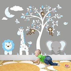 Jungle Wall Stickers featuring Giraffe, Elephant and Monkeys around a White Tree Mural. Blue and Grey Nursery Wall Decals