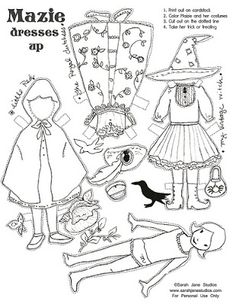 Busy as a Bee in Paris: Free Halloween paper doll from Sarah Jane Studios