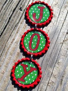 JOY Bottle Cap Ornament Handmade Personalized Christmas Ornament. $6.50, via Etsy.
