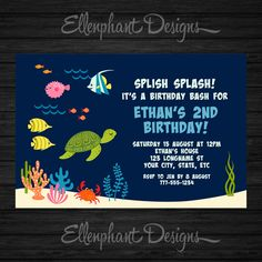 Under the Sea Birthday Invitation, ocean, 1st, 2nd, 3rd, 4th, first, turtle, fish, party, kids, pool, custom invite, digital file, you print by EllenphantDesigns on Etsy https://www.etsy.com/listing/265638801/under-the-sea-birthday-invitation-ocean