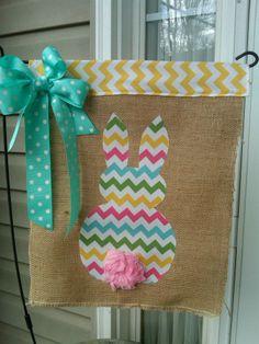 Easter Burlap Bunny Flag found on The Lillipad on Facebook
