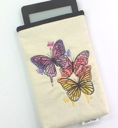 Colorful Butterfly Pouch Kindle pouch Makeup by AprilNineDesigns