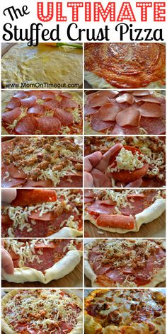 The Ultimate Stuffed Crust Pizza ~ YUM!  I just had to pin this, but I'm not sure if it has already been pinned.  But if it has, I'll check and delete it.