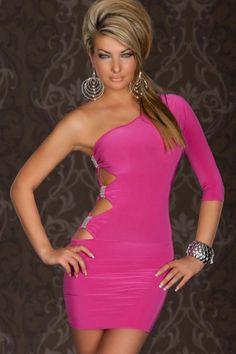 GOGO Sexy One Arm Mini Club Dress Pink B2c 35bacd29e