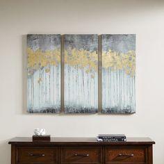 Madison Park Grey Forest Grey Gel Coat Canvas with Gold Foil Embellishment 3-piece Set