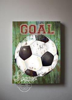Soccer Art  Sports Room Decor  Canvas Art Soccer by MuralMAX, $51.00