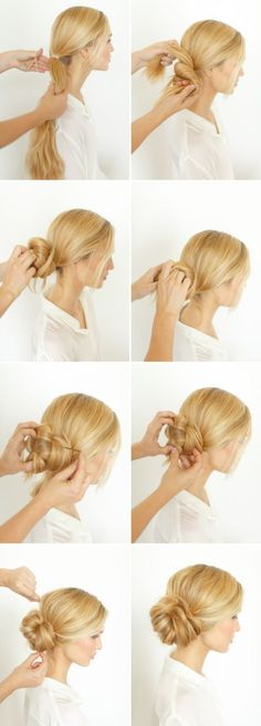 Pretty Side Bun Hairstyle for Long Hair