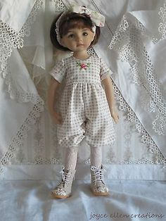"""13"""" Effner Little Darling BJD Checks Roses OOAK Handmade Set by JEC 