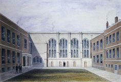 The Inner Court of Merchant Taylors' Hall, 1853 (w/c on paper) Wall Art & Canvas Prints by Thomas Hosmer Shepherd