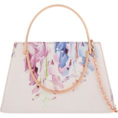 TED BAKER Cindy Hanging Gardens clutch ($130) ❤ liked on Polyvore featuring bags, handbags, clutches, baby pink, ted baker purse, baby pink handbag, chain strap purse, strap purse and chain handle handbags