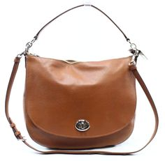 c76143026aef Coach NEW Brown Saddle Pebble Leather Turnlock Hobo Shoulder Bag Purse  $350-#039