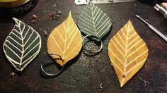 Leather Leaf key ring