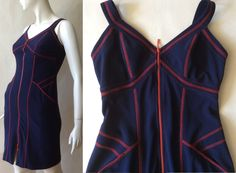 1990's Joseph Ribkoff zipper knit dress, navy blue with red stitching and details, slinky wiggle cut, extra small / size 0 - 2 / petite by afterglowvintage on Etsy