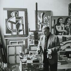Fernand Léger in his atelier, rue Notre-Dame-des-Champs, Paris, 1952. Photographed by Étienne Ostier.