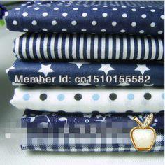 Free shipping 6pcs/lot blue Series Cotton fabric Patchwork fabric Square,Fat Quater Bundle Quilting 50*50cm US $6.60