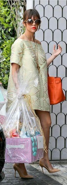 Kourtney Kardashian: Dress – Amber Sakai  Sunglasses – Tom Ford  Shoes – Manolo Blahnik  Purse – Hermes