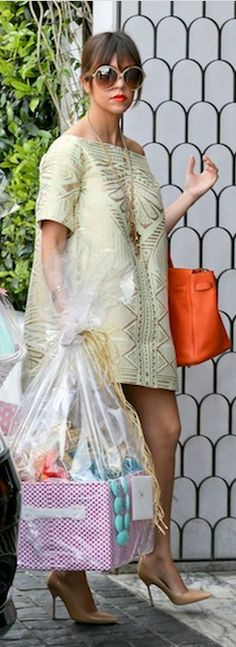 Kourtney Kardashian: Dress – Amber Sakai  Sunglasses – Tom Ford  Shoes – Manolo Blahnik  Purse – Hermes