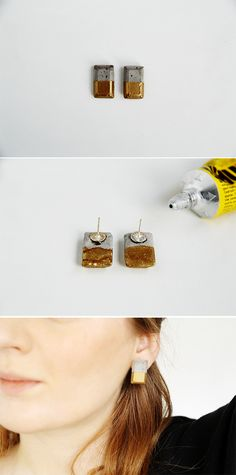 Concrete Gold Dipped Earrings Tutorial Fall For DIY
