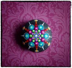 Jewel Drop Mandala Painted Stone- Spring Fling