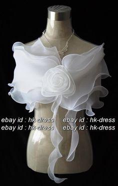 Ivory & White Bridal Flower Shawl Wrap Shrug Bolero Cape Stole Throw 121006EH012 | eBay