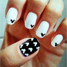 Subtle Disneyland Mickey Mouse nail art - use a dotting tool to make this easy! #black #white Best of 2013