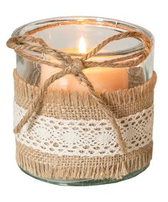 Another great find on #zulily! Burlap Lace Glass Candleholder #zulilyfinds