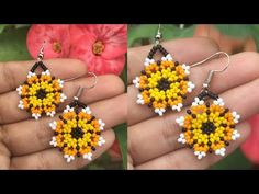 ARETES EN MOSTACILLA/FLOR PEQUEÑA - YouTube Seed Bead Jewelry, Seed Bead Earrings, Beaded Earrings, Seed Beads, Beaded Jewelry, Drop Earrings, Purple Wine, Kinds Of Salad, Projects To Try