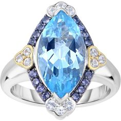Phillip Gavriel - 18K Yellow Gold & Silver Marquise Sky Blue Topaz... ($341) ❤ liked on Polyvore featuring jewelry, rings, sapphire ring, silver rings, 18k gold ring, gold sapphire ring and fake gold rings