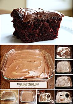 CRAZY CHOCOLATE CAKE 3 c all-purpose flour 2 c white sugar 1 tsp salt 2 teaspoons baking soda 1/2 c unsweetened cocoa powder 3/4 c vegetable oil 2 TBSP distilled white vinegar 2 tsp vanilla extract 2 cups cold water Sift all dry items into a 9 x 13  ungreased cake pan. Make three wells. Pour each wet into one well. Pour cold water over top and stir with fork. Bake at 350°F  for 30 to 40 minutes, or until tooth pick inserted comes out clean. Frost with your favorite icing.