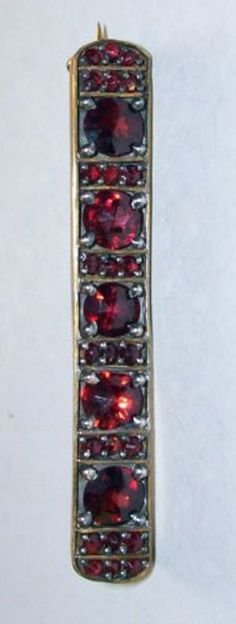 Bohemian Garnet Brooch Georgian/Victorian Gold Filled Magnificent