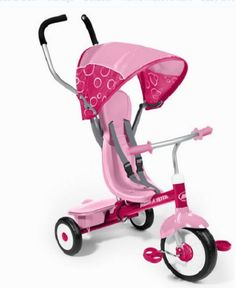 Pink Toddler Trike Tricycle Bike Ride On Toy 4 in 1 Convertible Baby Child Girls