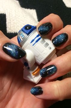 My galaxy gel nails in celebration of Star Wars - love how they turned out!