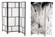 Maravillosos biombos en blanco y negro para dividir espacios en pequeñas estancias