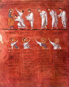 Codice Purpureo, or purple parchment. 	  The Rossano Gospels-procession of the Apostles (from the Cathedral of Rossano, Calabria, Italy, Archepiscopal Treasury). 6th century Byzantine Gospel Book. Purple dye was used on books for nobles/ royalty; very costly because of the rare ingredient (often derived from mollusks) to get the purple dye.  Image license: Wikimedia commons. Public domain.  Link: https://commons.wikimedia.org/wiki/File:Rossano_Gospels_-_procession_of_the_Apostles_