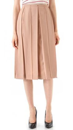 Sonia Rykiel Nude Pleated Silk Skirt 995