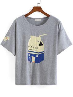 Shop Milk Print Grey T-shirt online. SheIn offers Milk Print Grey T-shirt & more to fit your fashionable needs.