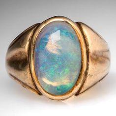 Falcon Vintage Mens Opal Ring Bezel Set 10K Gold