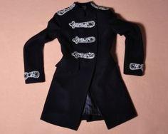 Black Military Blouse Coat Navy Military, Military Jacket, Mandarin Collar, Balmain, Wetsuit, Sequins, Wool, Blouse, Long Sleeve