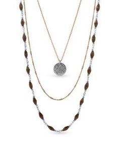 Lucky Brand Jewelry  Two-Tone Lucky Layer Pyrite Necklace