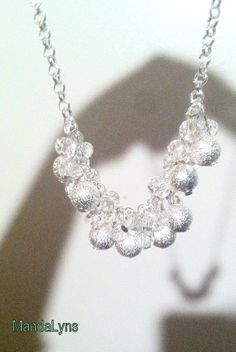Clear sparkle glass chunky silver wedding necklace by MandaLyns, $35.00