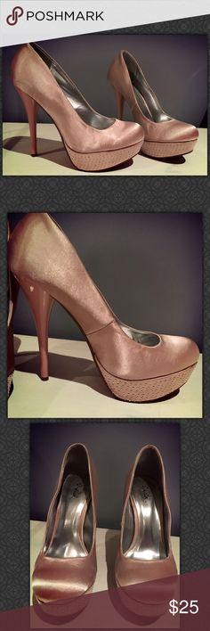 👠👠Nude Platform Heals with Rhinestones👠👠 👠👠Nude Platform Heals with Rhinestones👠👠. Worn once to a dance. Qupid Shoes Platforms