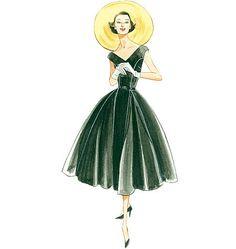 V1172 Misses'/Misses' Petite Dress and Belt | Average | Vintage 1950s