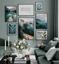 Green picture wall with photography posters and quotes - inspiration picture wall - . Green picture wall with photography posters and quotes - inspiration picture wall - Posterstore.deTable cover Pendo Decor 200 to 219 cm x 50 cm Choice. Interior Design Living Room, Living Room Designs, Living Room Decor, Living Room Gallery Wall, Picture Wall Living Room, Picture Walls, Room Interior, Inspiration Wand, Poster Store