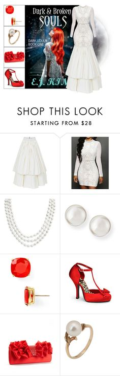 """""""Book Look: Dark & Broken Souls By E. J. King"""" by xmikky ❤ liked on Polyvore featuring Maticevski, PearLustre by Imperial, Majorica, Kate Spade, Jessica McClintock and Mikimoto"""