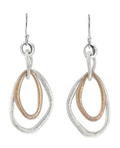 """Jorge Revilla """"Ovalos"""" matte sterling silver and rose gold plated earrings"""