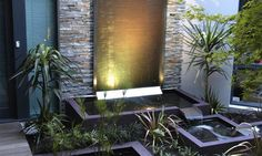 In-House Garden Waterfall Design Simple Home Garden Waterfall . Pool Landscape Design, Pond Design, Modern Garden Design, Design Cascade, Modern Water Feature, Natural Swimming Ponds, Waterfall Features, Pond Water Features, Garden Waterfall