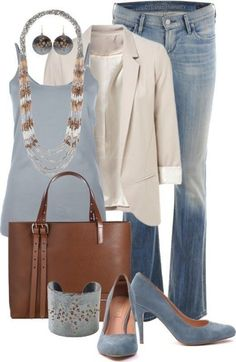 I like this work outfit. Fun purse and like the colors. The shoes are awesome - look like blue shade heels. 80 Elegant Work Outfit Ideas in 2017 Mode Outfits, Casual Outfits, Fashion Outfits, Fashion Trends, Casual Blazer, School Outfits, Dress Casual, Cream Blazer Outfit, Tan Blazer